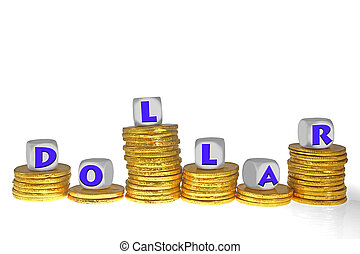 Golden coins Bar Graph with Dollar word on blocks