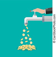 Golden coins fall out of the metal tap. Vector illustration...