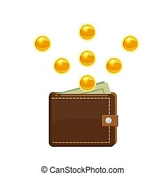 Golden coins falling and wallet with dollars in purse. Saving money concept. Vector illustration, cartoon style, isolated
