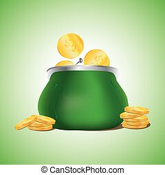 Golden coins falling in green retro purse on light green background. Dollars dropping in open purse. Saving money concept