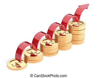 Golden coins financial diagram concept isolated on white backgro