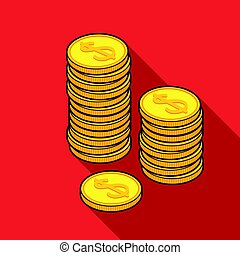 Golden coins icon in flat style isolated on white background. Money and finance symbol stock vector illustration.