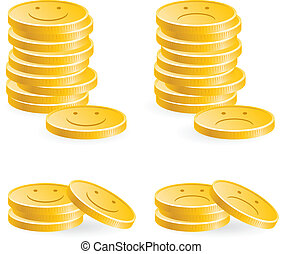 Illustration of the golden coins with smile on white background