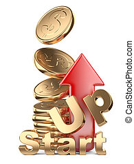 Golden coins in pile and red arrow up. Startup concept.