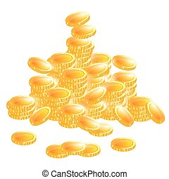 Golden Coins Isolated on White Background.