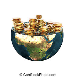 golden coins on earth hemisphere isolated on a white