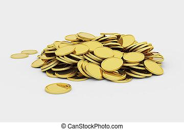 Golden coins pile - Pile of golden coins, 3d render...