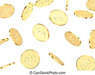 Golden coins. Realistic gold money isolated on white...