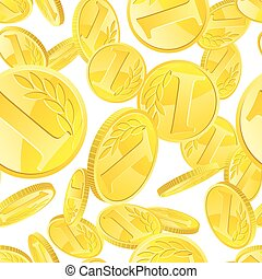 Golden coins seamless pattern