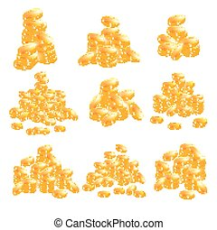 Golden Coins Set Isolated on White Background.