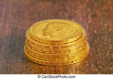 Golden coins stack