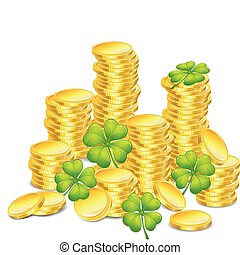 Golden coins with clover