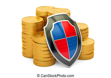 golden coins with shield, financial insurance and business stability concept. 3D rendering