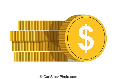 Golden coins with white dollar sign vector in banking concept.