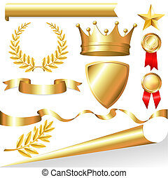 Golden Collection From Crowns, Medals, Board, Tapes, Laurel Branch And Wreath, Isolated On White Background