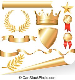 Golden Collection From Crowns, Medals, Board, Tapes, Laurel Branch And Wreath, Isolated On White Background, Vector Illustration