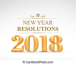 Golden color 2018 new year resolutions (3d rendering) on...