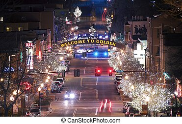 Golden Colorado Main Street. Welcome in Golden Colorado. The City of Golden in Christmas Time.