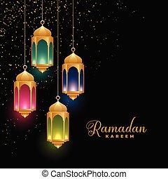 golden colorful islamic lanterns ramadan kareem background