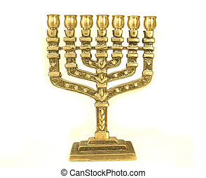 menorah - golden colour jewish chandelier menorah