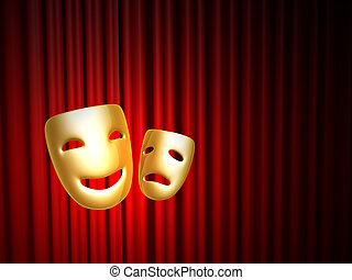 comedy and tragedy masks over red curtain