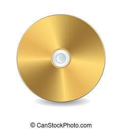 Golden compact disc - A golden compact disc, isolated object...