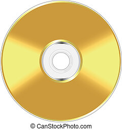 Golden compact disc - Realistic vector illustration of...