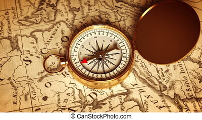Golden Compass On The Map Indicating Direction. 3D Animation.