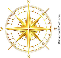 Golden compass rose, isolated on white background. Vector...