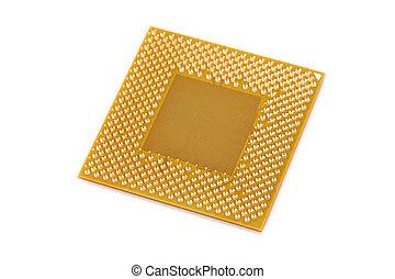 Computer CPU - Golden Computer CPU close up shot