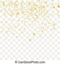 Many falling confetti - Golden confetti falls isolated....