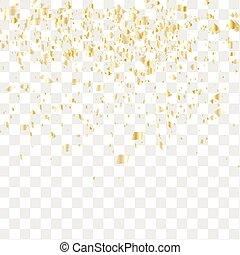 Many falling confetti - Golden confetti falls isolated....
