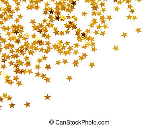 Golden confetti in star shape isolated on white