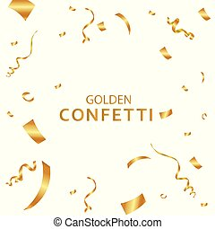 Golden confetti, isolated on white background. Vector illustration.