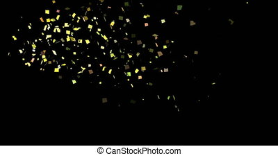 Golden Confetti Party Popper Explosions on a Black