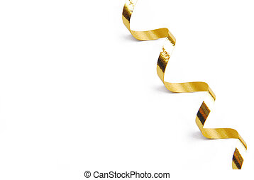 golden confetti serpentine ribbon isolated on white