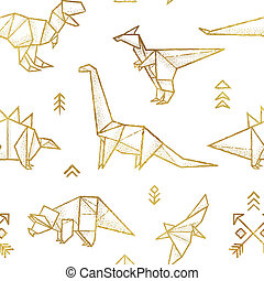 Golden contour origami dinosaurs seamless pattern. Fun design for background, fabric, wrapping.