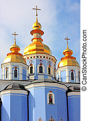 Golden copes of in cathedral in Kiev