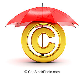 Golden copyright symbol covered by red umbrella