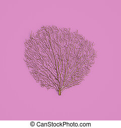 Golden coral fan sculpture on pastel pink background. 3d rendering