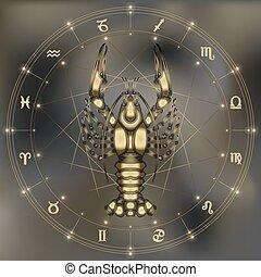 Golden crawfish, zodiac Cancer sign