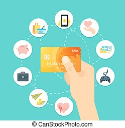 Golden Credit card vector illustration. Creative concept for sites, web banners, printed materials, infographics.
