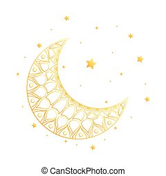 golden crescent moon and stars