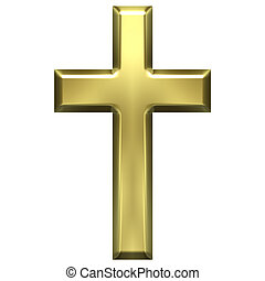 3d golden cross isolated in white