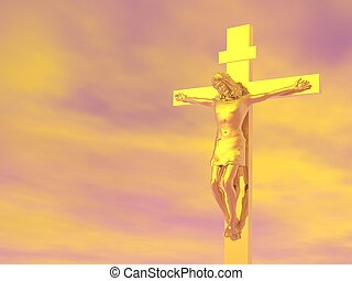 Golden cross - 3D render