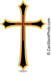 Golden Cross - Christian religious symbol Cross vector image