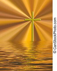Golden cross Easter Christian background. Calm waves, trials...