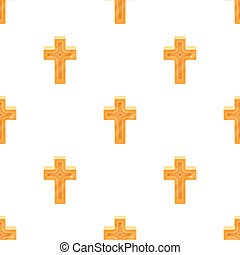 Golden cross. Easter single icon in cartoon style vector symbol stock illustration.