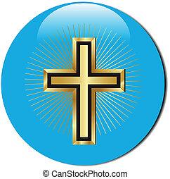 golden cross icon - 3d golden cross icon.Vector