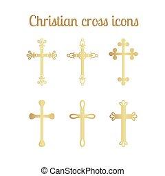 Golden cross icons set